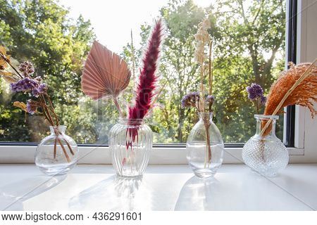 Decorative Vases And Flowers With Interior Decor Concept On Window Sill,still Life Beautiful Vase Wi