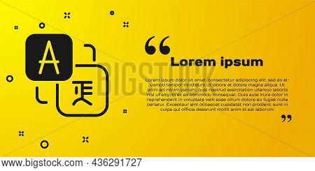 Black Translator Icon Isolated On Yellow Background. Foreign Language Conversation Icons In Chat Spe