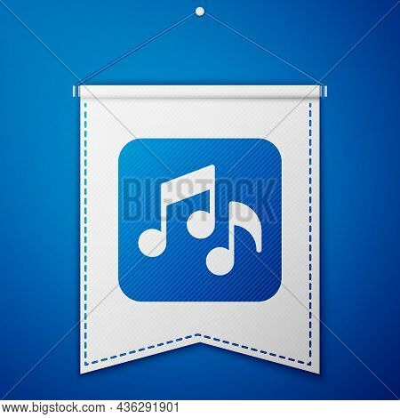 Blue Music Note, Tone Icon Isolated On Blue Background. White Pennant Template. Vector