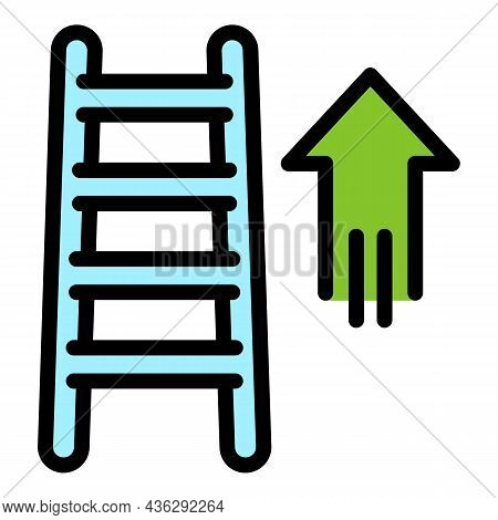 Career Up Ladder Icon. Outline Career Up Ladder Vector Icon Color Flat Isolated
