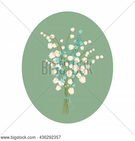 Bouquet Of Forget-me-nots And Lilies Of The Valley.