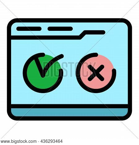 Voting Online Icon. Outline Voting Online Vector Icon Color Flat Isolated