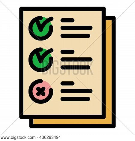 Election Form Icon. Outline Election Form Vector Icon Thin Line Color Flat On White