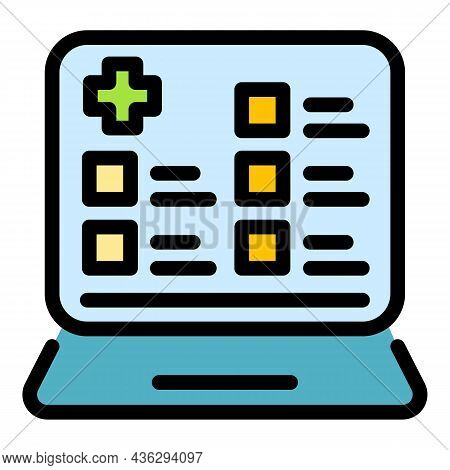Online Patient Form Icon. Outline Online Patient Form Vector Icon Thin Line Color Flat On White