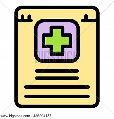 Online Patient History Icon. Outline Online Patient History Vector Icon Color Flat Isolated