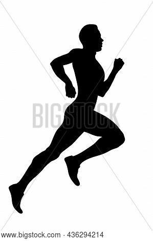Athlete Runner Run Sprint Race Black Silhouette