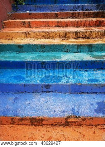 A Colorful Narrov Lane Stairway. A Nice Photo From A Old Town With Passageway Stairs. High Quality P