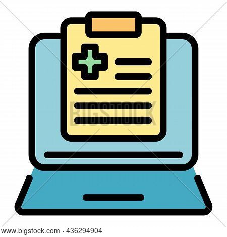 Online Medical History Icon. Outline Online Medical History Vector Icon Color Flat Isolated
