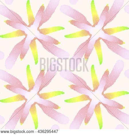 Seamless Pattern With Dotted Geometric Drawing. Vector Illustration