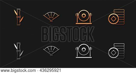Set Bamboo, Chinese Or Japanese Folding Fan, Gong And Yuan Currency Icon. Vector
