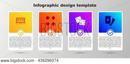Set Online Slot Machine With Jackpot, Deck Of Playing Cards, Game Dice And . Business Infographic Te