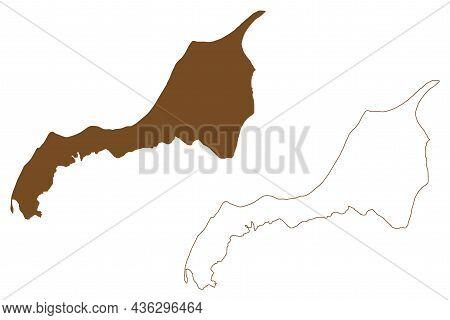 North Jutlandic Island (kingdom Of Denmark) Map Vector Illustration, Scribble Sketch Vendsyssel-thy