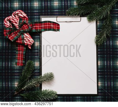 Christmas New Year Paper Frame, Flatley Style With A Top View With Christmas Decorations Made Of Chr