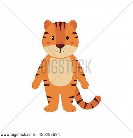 Cute Cartoon Striped Little Tiger Cub. Children Decor. New Year's Symbol Of 2022. Vector Illustratio