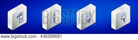 Set Isometric Line Door Handle, Unlocked Key, Key Broke Inside Of Padlock And Lock Picks For Picking
