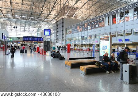 Frankfurt, Germany - December 6, 2016: Passengers Visit Terminal 2 Of Frankfurt International Airpor
