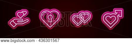 Set Line Heart In Hand, With Keyhole, Two Linked Hearts And Male Gender. Glowing Neon Icon. Vector