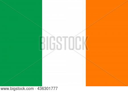 The Flag Of Republic Of Ireland Occupies Most Of The Island Of Ireland, Off The Coast Of England And