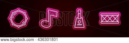 Set Line Dial Knob Level, Music Note, Tone, Balalaika And Drum. Glowing Neon Icon. Vector