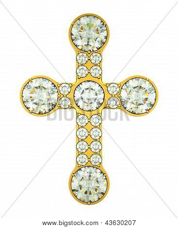 Jewelery: Golden Cross With Diamonds Isolated