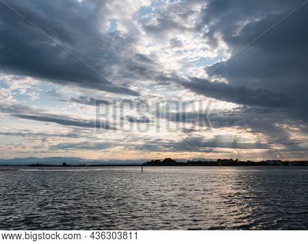 Grado Lagoon At Le Cove In The Morning In Friuli Venezia Giulia, Italy With Dramatic Sky