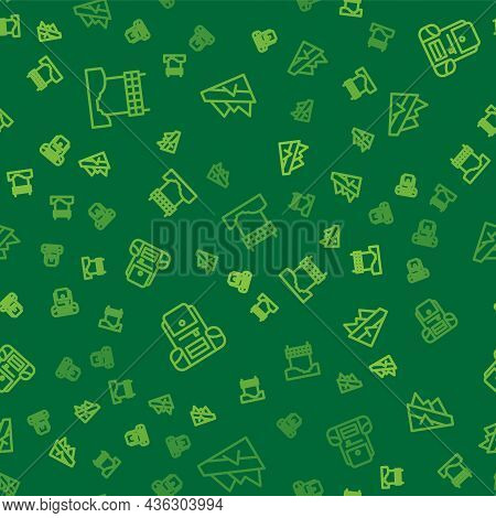 Set Line Ribbon In Finishing Line, Hiking Backpack And Mountain Descent On Seamless Pattern. Vector