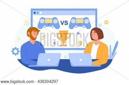 Gaming Online Concept. Man And Woman Sitting At Laptops And Competing In Virtual Video Game For Gold