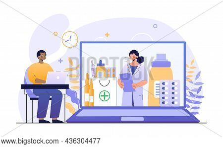 Online Consultation With Doctor. Man Sitting Home And Communicating With Therapist Via Video Link. M