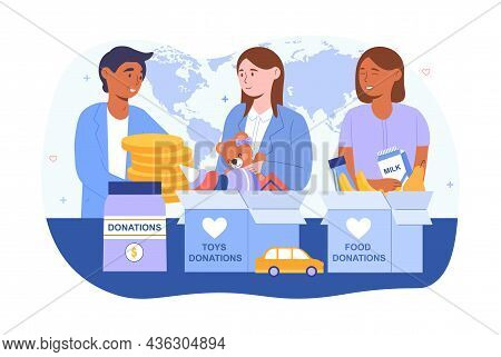 Charity And Donation Concept. Men And Women Give Toys, Food, Clothes And Money To People In Need. Ki