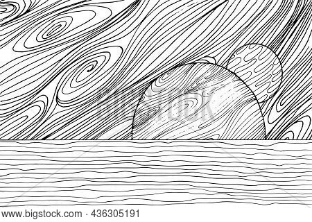 Doodle Alien Fantasy Water Landscape Coloring Page For Adults. Fantastic Graphic Artwork. Hand Drawn