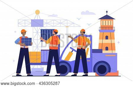 Logistics Company In Port Concept. Men In Uniforms And Helmets Put Boxes On Car. Crane Loads Cargo.