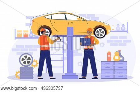 Car Service And Repair Concept. Men Lift Car With Help Of Special Mechanism. Employees Replace Wheel