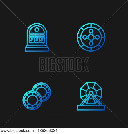 Set Line Lottery Machine, Casino Chips, Slot With Jackpot And Roulette Wheel. Gradient Color Icons.