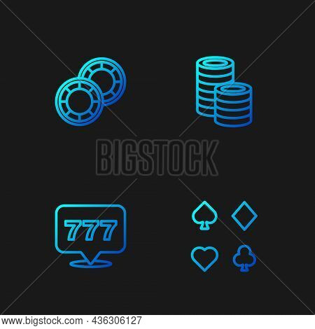 Set Line Deck Of Playing Cards, Slot Machine With Jackpot, Casino Chips And . Gradient Color Icons.