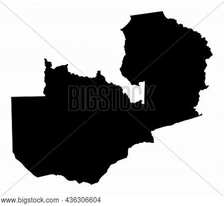 Zambia Silhouette Map Isolated On White Background