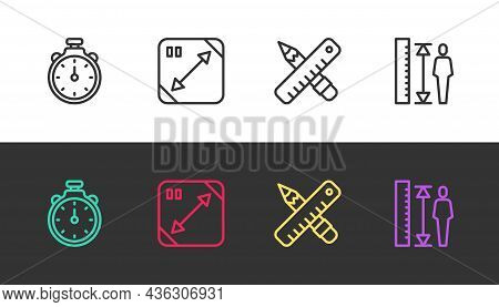 Set Line Stopwatch, Diagonal Measuring, Crossed Ruler And Pencil And Measuring Height Body On Black