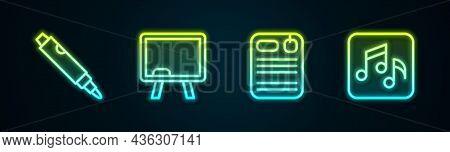 Set Line Marker Pen, Chalkboard, Dossier Folder And Music Note, Tone. Glowing Neon Icon. Vector