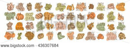 Set Of Hand-drawn Autumn Hygge Mood Vector Icons And Lettering