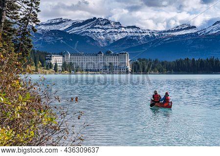 Lake Louise, Alberta, Canada - 29 September 2021: Fairmont Chateau Lake Louise On The Shore Of Lake