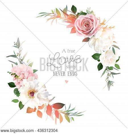 Blush Pink Roses, Hydrangea, Ivory Peony Vector Design Invitation Frame