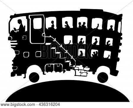 Bus Big Driving Scene Silhouette Cartoon Black, Vector Illustration, Horizontal, Over White