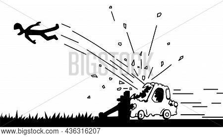 Car Crashing Into Barrier, Driver Flying Forward Scene Silhouette Cartoon Black, Vector Illustration