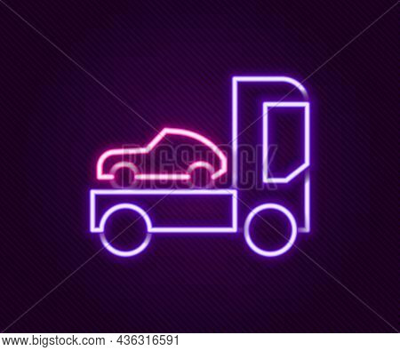 Glowing Neon Line Car Transporter Truck For Transportation Of Car Icon Isolated On Black Background.