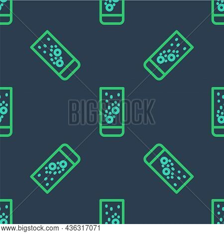 Line Effervescent Aspirin Tablets Dissolve In A Glass Of Water Icon Isolated Seamless Pattern On Blu