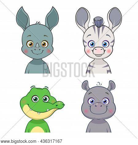 Cartoon Set Of African Animals. Isolated Cute Baby Rhino, Zebra, Crocodile, Hippo. Vector Illustrati