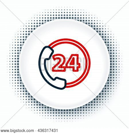 Line Telephone 24 Hours Support Icon Isolated On White Background. All-day Customer Support Call-cen