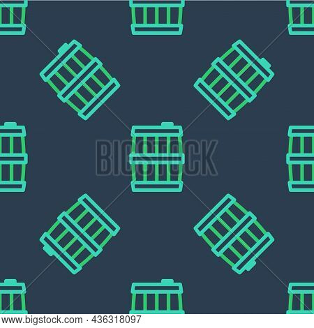 Line Wooden Barrel Icon Isolated Seamless Pattern On Blue Background. Alcohol Barrel, Drink Containe