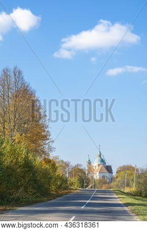 Abandoned And Mysterious Church Of The Early 18th Century. Beautiful Autumn Landscape. Soft Sunlight