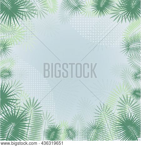 Stylization Of The Palm Flower. Palm Tree Branch. Vector Background. Abstract Artistic Vector Illust