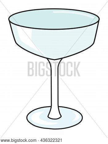 Fizzio Cope Sparkling Wine And Cocktail Glass. Stylish Hand-drawn Doodle Cartoon Style Gin Colored V